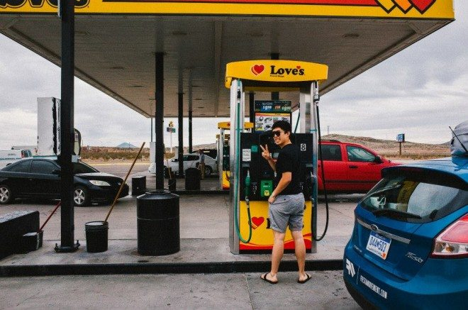 Filling up at a pit stop! Photo by Cindy Nguyen