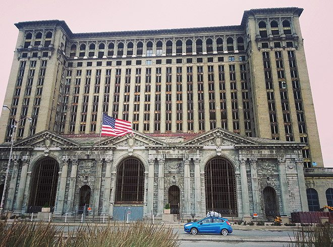 In front of the Michigan Central Station in Detroit