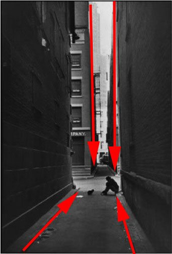 Figure 1: See all of the leading lines pointing to the two subjects in the center of the frame.