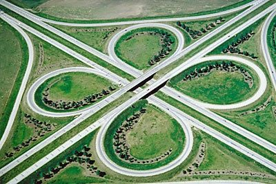 Curved roads give a sense of energy--movement, and motion.
