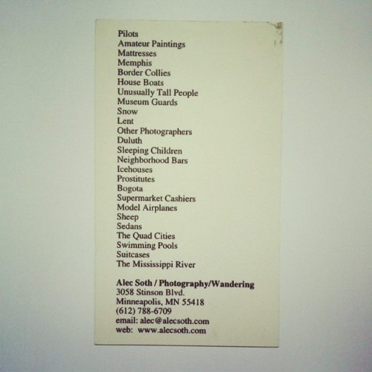 "An old business card by Alec Soth. Note his ""shot list"""