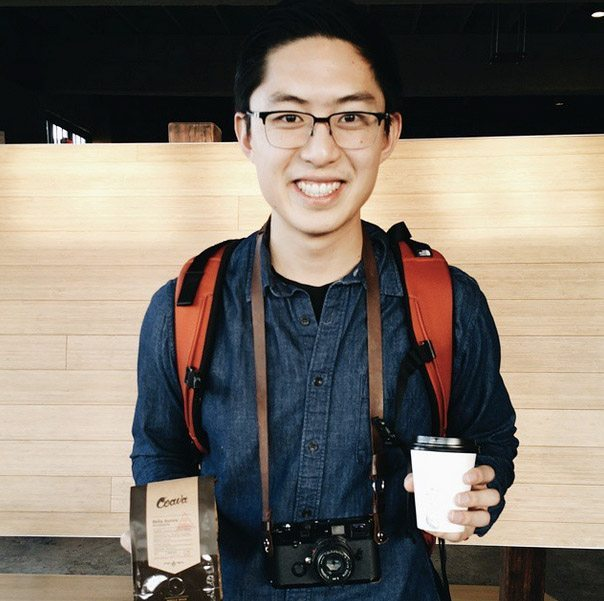 Happy with coffee and my film Leica in Portland, 2015