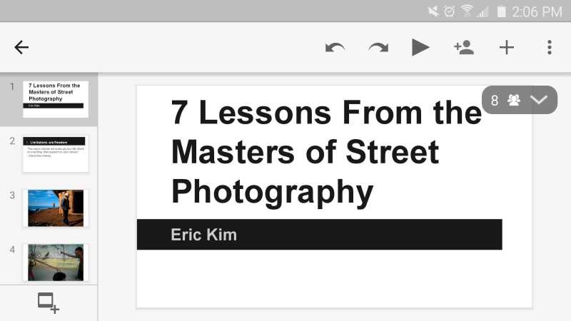 Presentation: 7 Lessons from the Masters of Street Photography