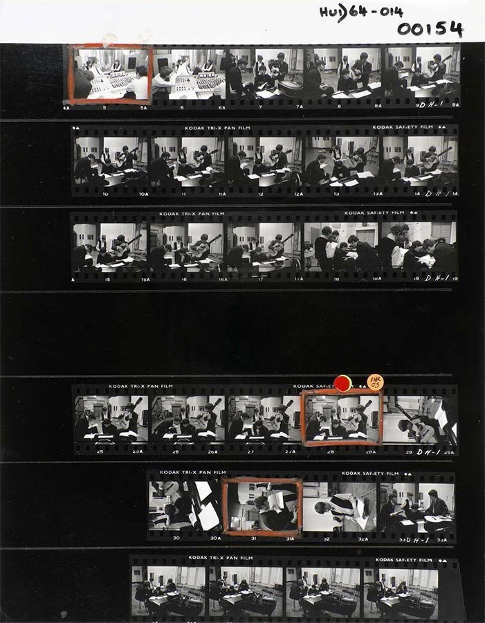 David Hurn, contact sheet depicting The Beatles in London's Abbey Road Studios (c) David Hurn / Magnum Photos