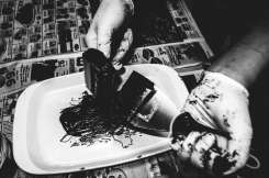Hand made printing with oil-based printing.