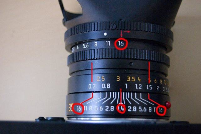 Zone focusing at f/16 (notice the range of focus at f/16)