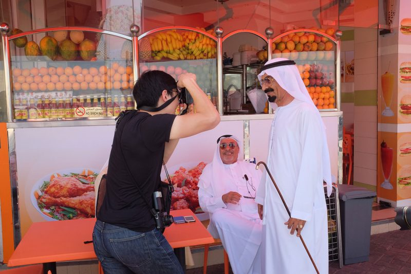 Shooting a street portrait in Dubai.
