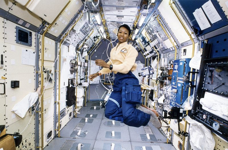 Astronaut Mae Jemison working in SpaceLab