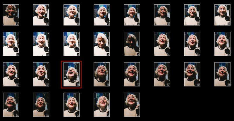 Interactions with strangers often leads to good moments. Contact sheet of laughing lady.