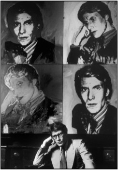 FRANCE. Paris. 1978. French stylist Yves SAINT-LAURENT at home, in front of his portrait by Andy WARHOL.