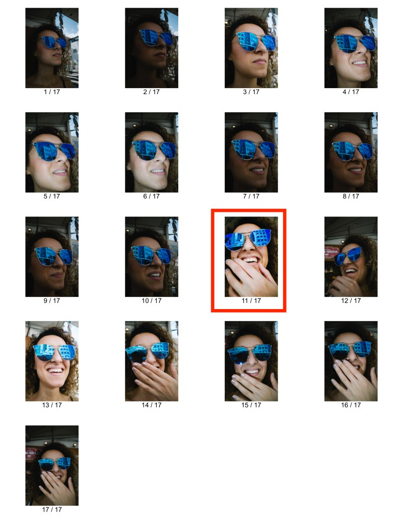 Contact sheet. Girl laughing with blue sunglasss. Kyoto, 2017.