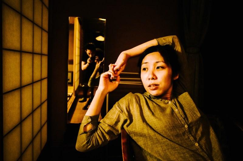 Cindy stretching and self portrait of ERIC in Uji Ryokan. 2017