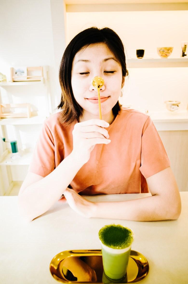 Cindy with spoon and matcha tea. Uji, Kyoto 2017