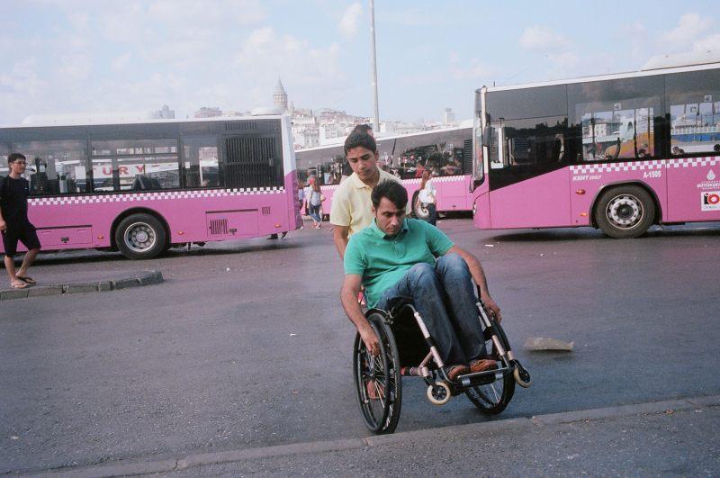 Man on wheelchair. Istanbul, 2014