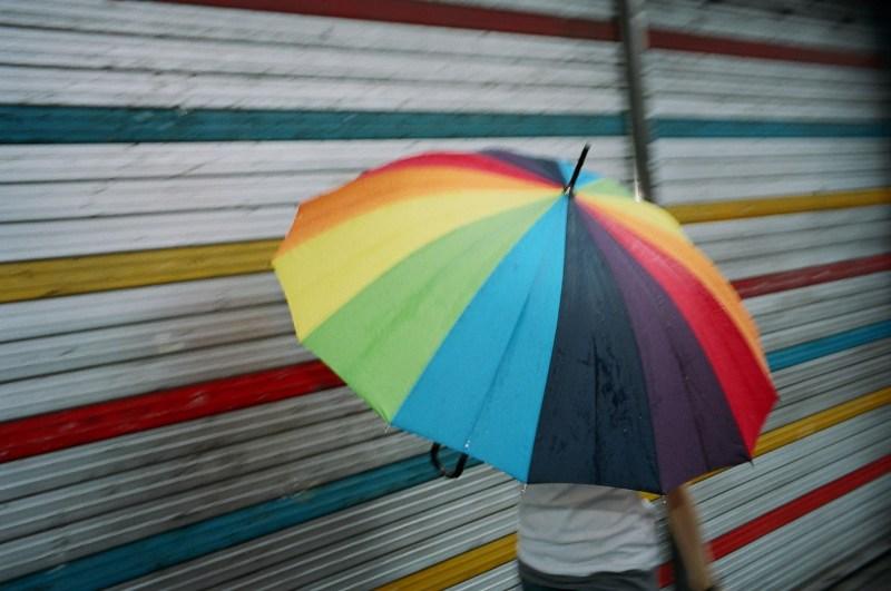 Rainbow umbrella. Hong Kong, 2013. Kodak Portra 400 film (35mm)