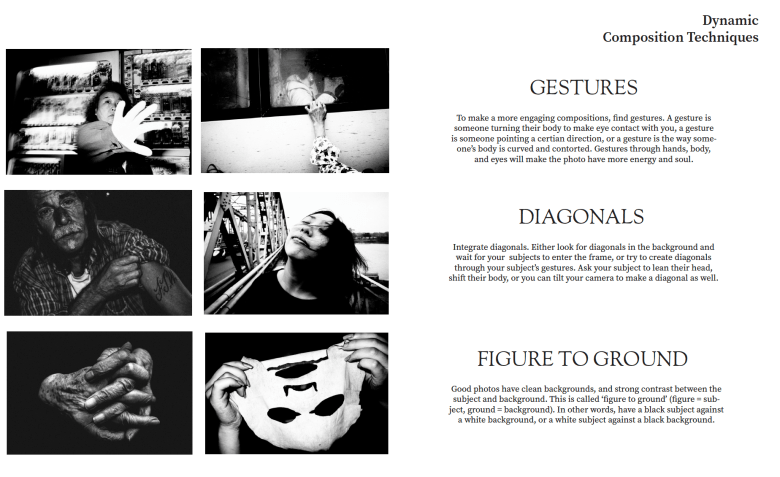 What to look for when shooting street photography. Spread from the book: LEARN FROM THE MASTERS