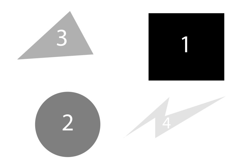Inverse figure to ground: with a white background, your eyes are first drawn to the darkest colors and shapes.