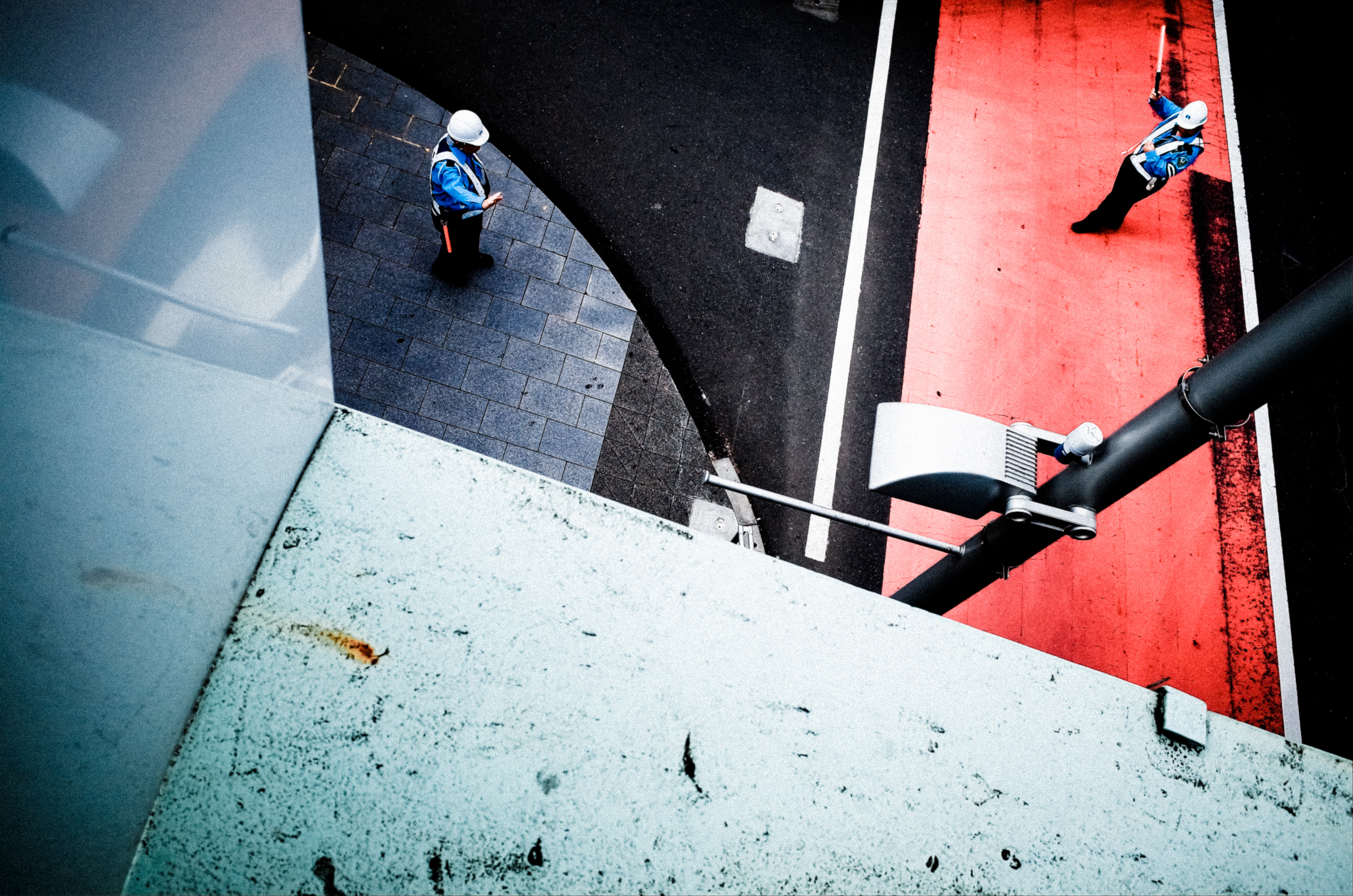 High angle shot of red and green crosswalk. Shibuya, Tokyo 2017