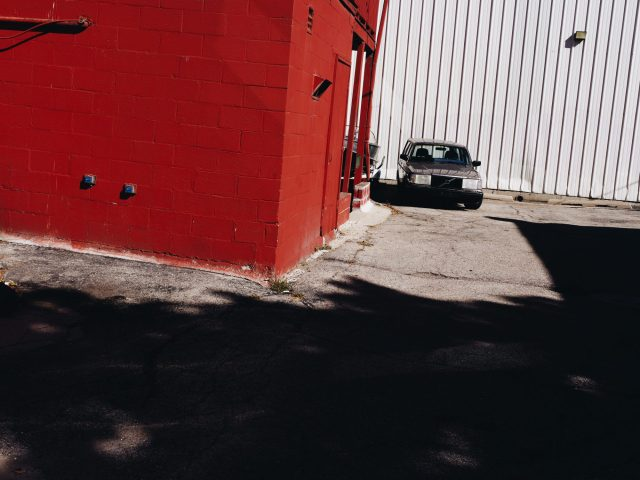 Red and car. Urban landscape. Madison, Wisconsin.