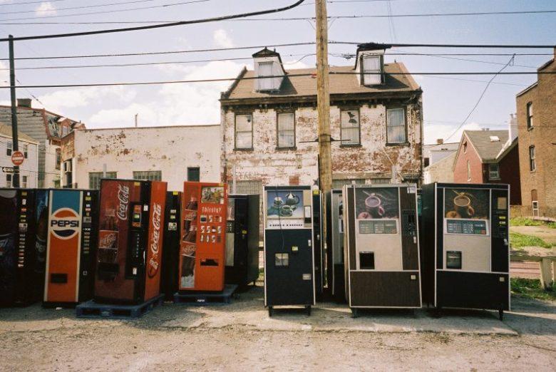 Pittsburgh urban landscape with Coca Cola.
