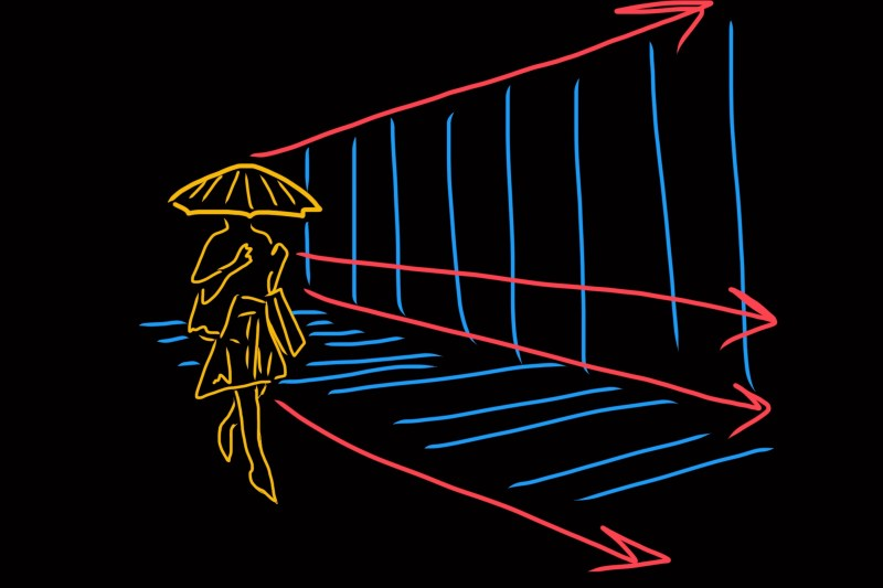 Leading lines of umbrella lady. Seoul, 2009
