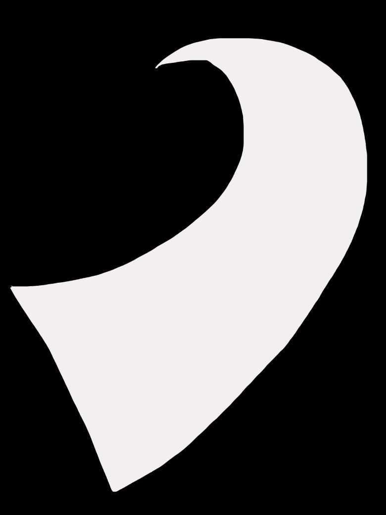 """As a figure to ground example, I drew a curved white object against a black background. This has """"strong"""" figure-to-ground."""