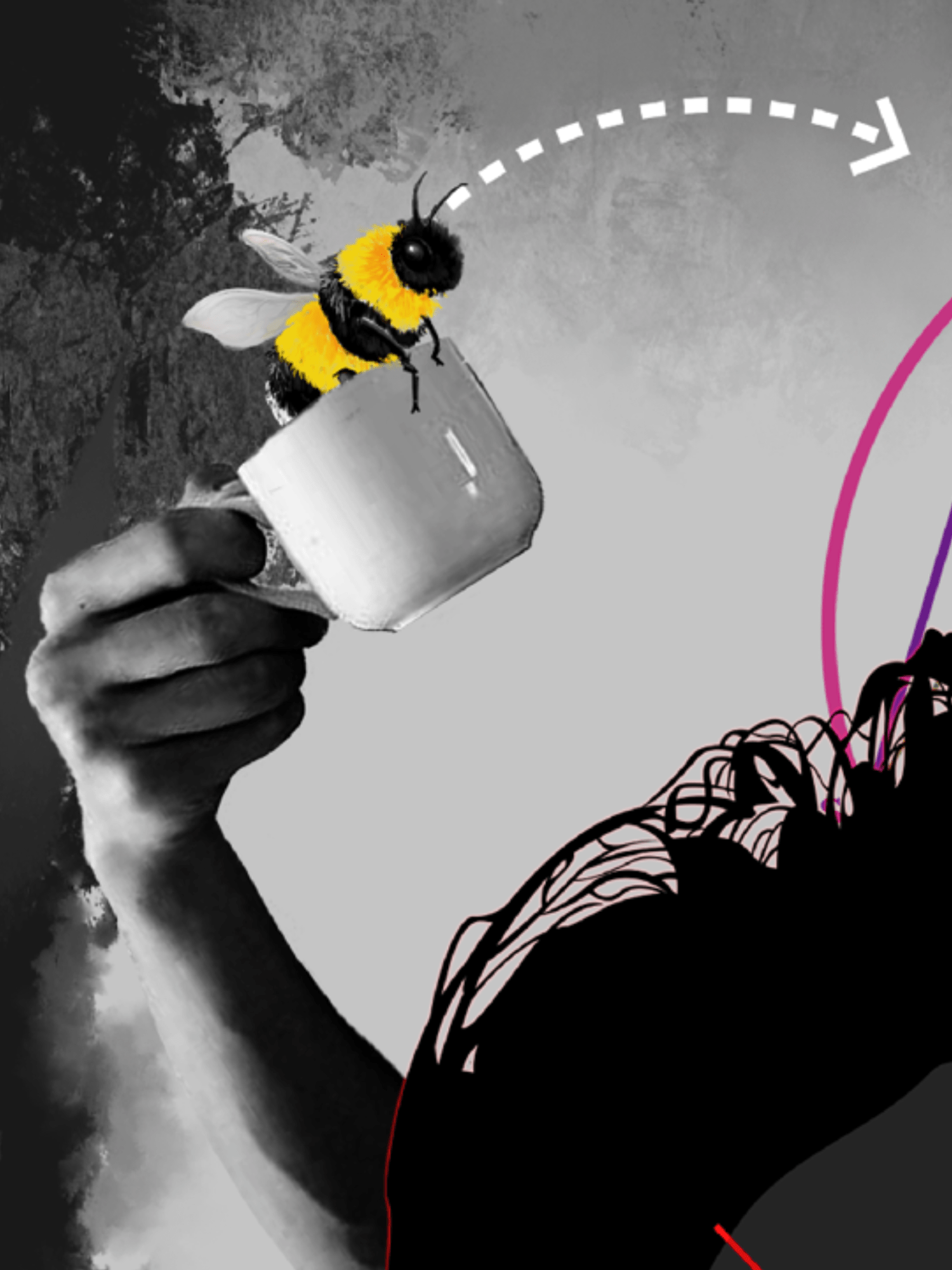 Bee and coffee cup.