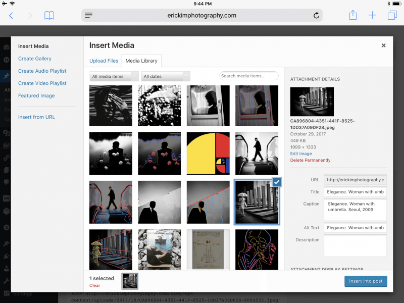 Screenshot of my WordPress Media library, of how I name and organize my files and pictures.