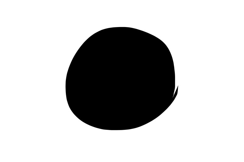 Black circle against white background.
