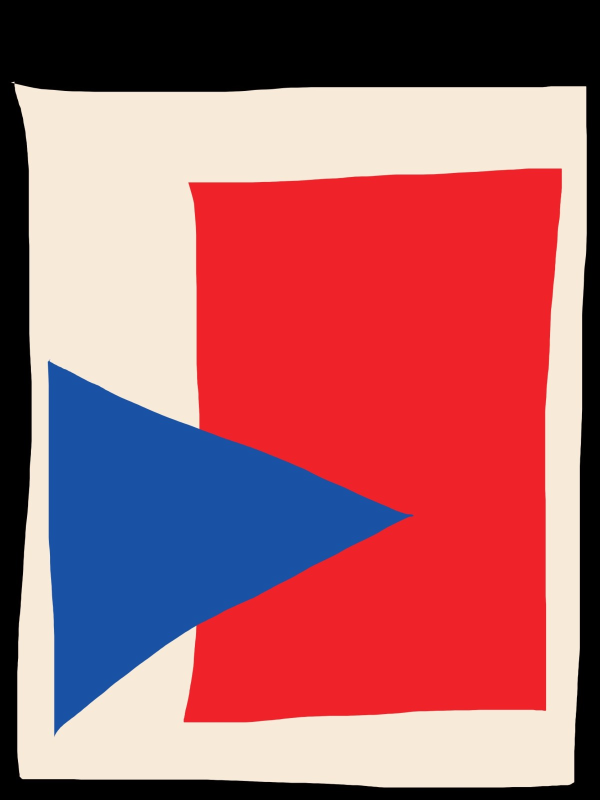 Blue triangle complements the red rectangle.