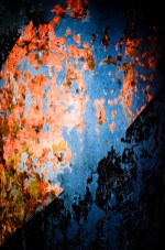 """Warm tones of the orange-red textures, contrasted against the """"cool"""" blue background of this texture."""