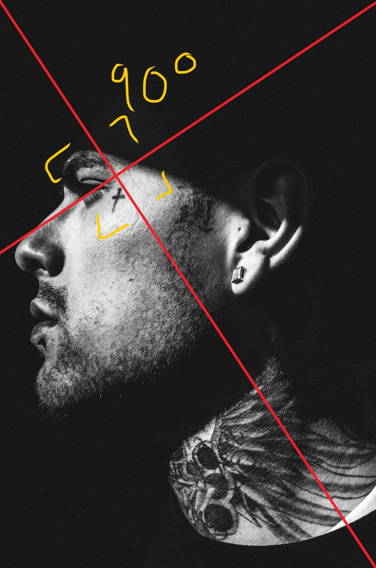 Golden triangle analysis for Downtown LA, side face tattoo.