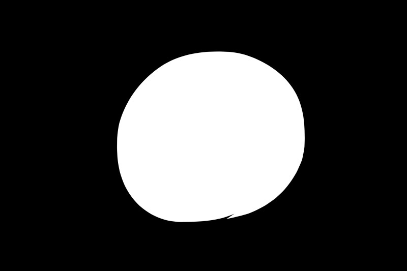 Figure to ground: White circle against black background.