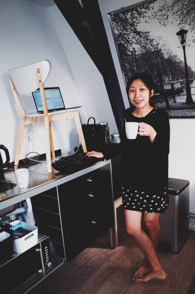 Cindy standing desk. Airbnb Amsterdam, 2017