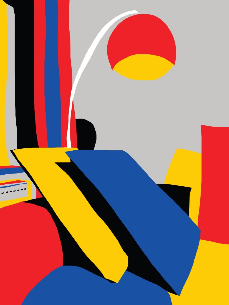 Red, Yellow, Blue living room abstract by ERIC KIM