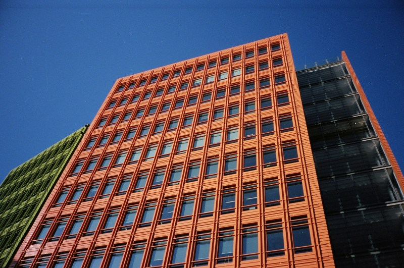 Orange building and blue sky