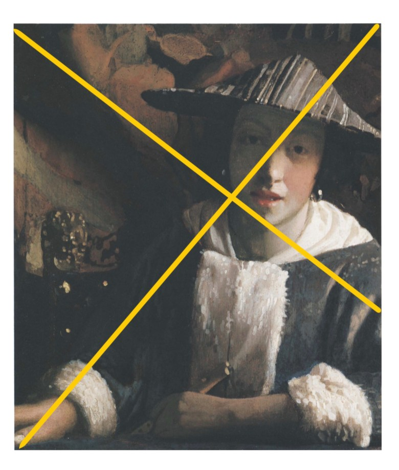 Golden rectangle gridline on Vermeer girl with flute