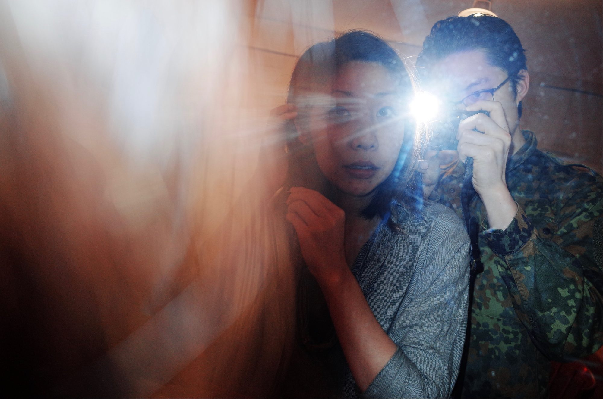 Selfie with Cindy in mirror with flash. Marseille, 2017