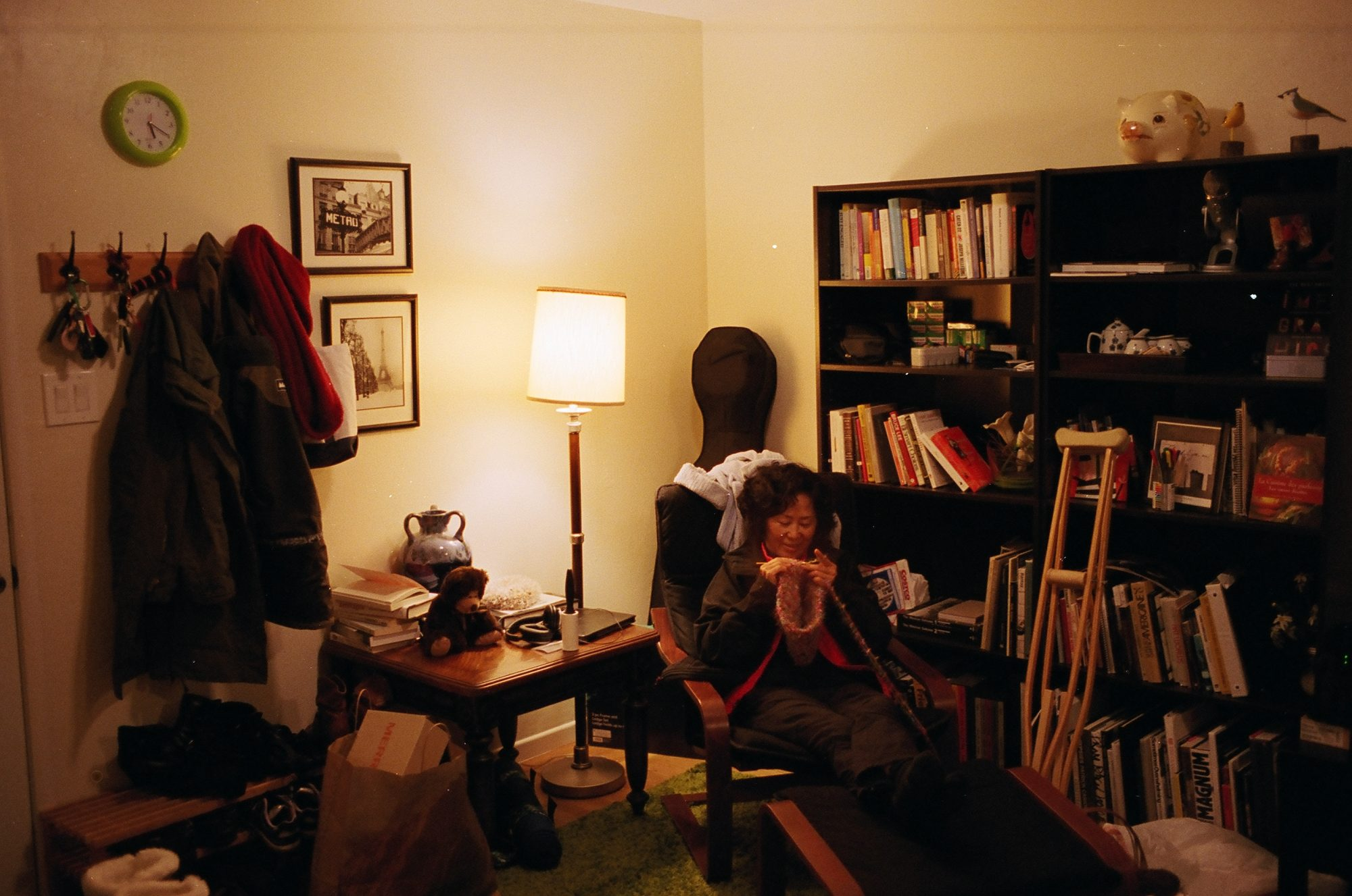 My mom knitting in our old berkeley apartment, 2013