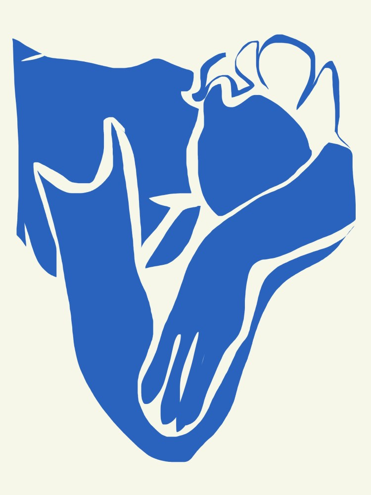 Blue abstract by ERIC KIM. Drawing by Matisse, woman with folded arms