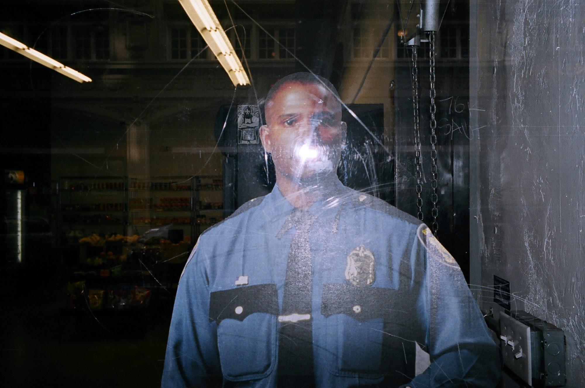 Black cop cutout with flash. Downtown la, 2014