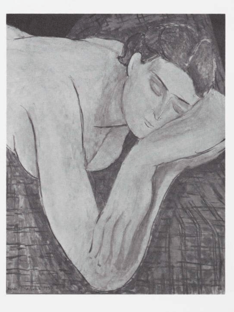 Drawing by Matisse, woman with folded arms.