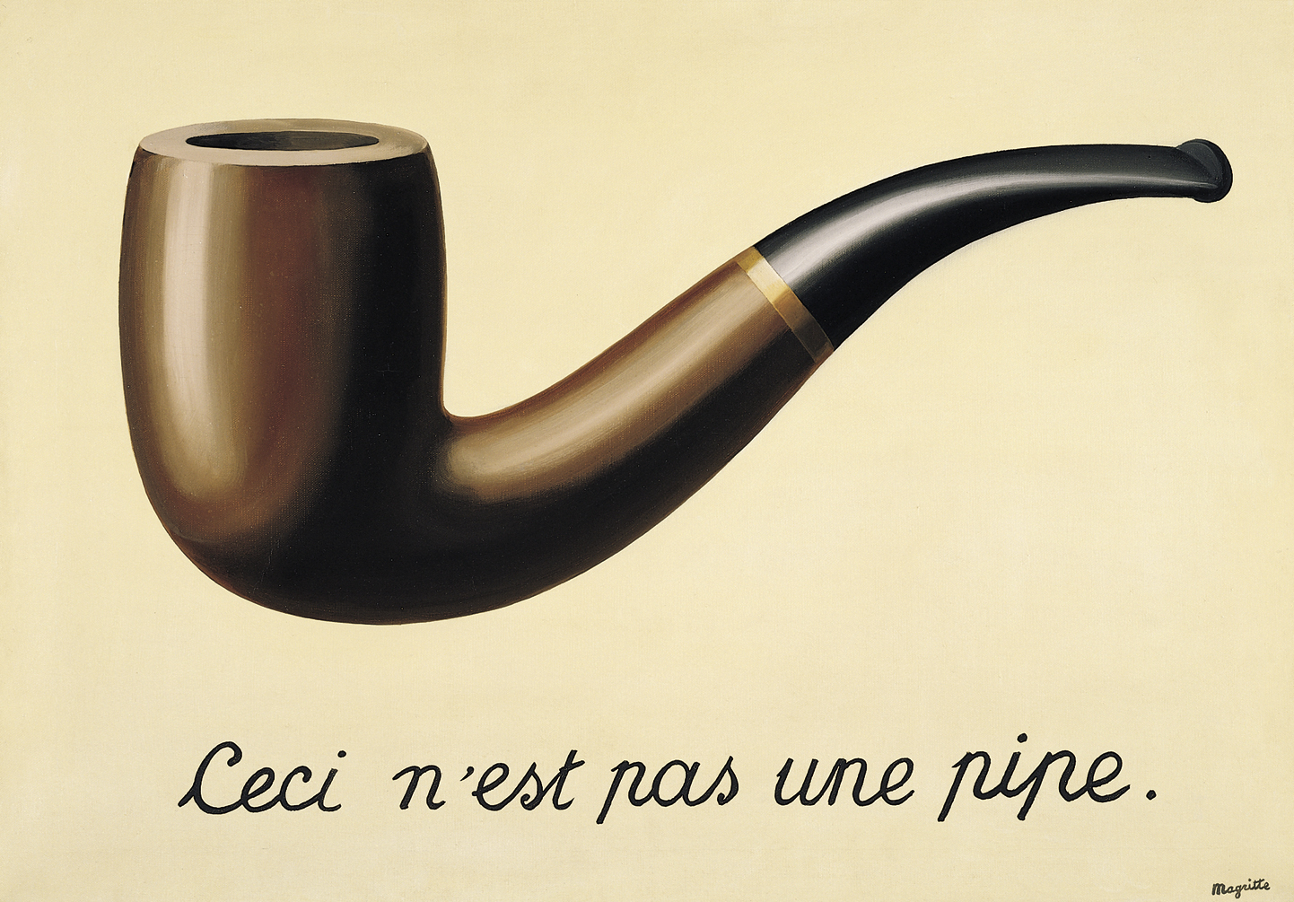 1948, treachery of images. This is not a pipe. Magritte