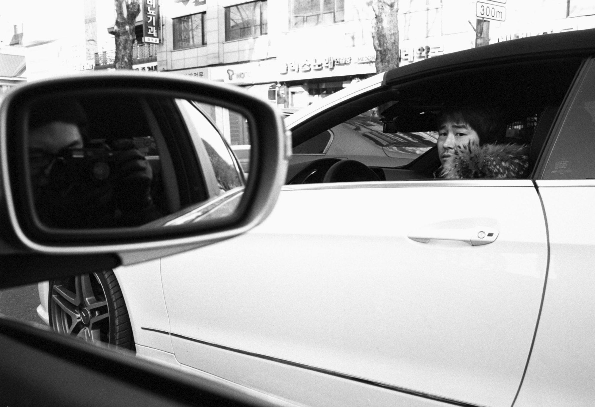 Selfie of myself in car. Seoul, 2011