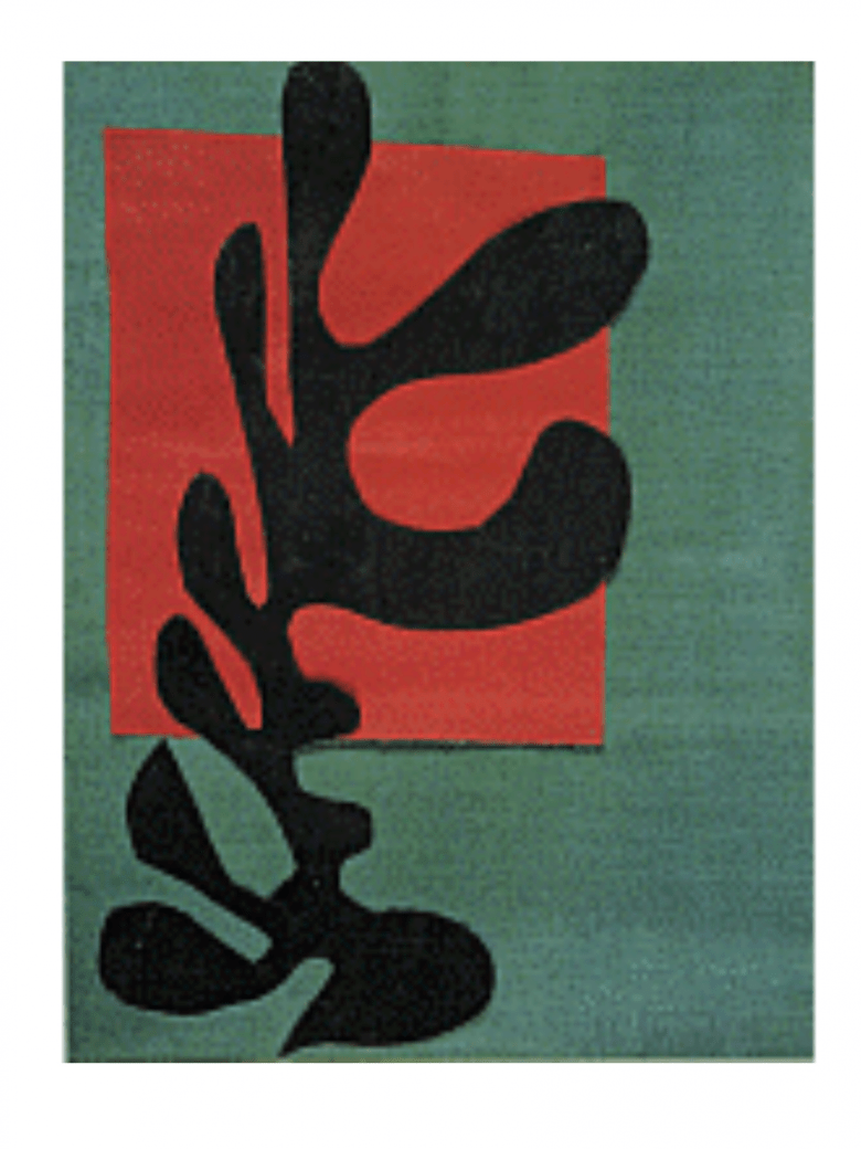 Matisse abstract, green and red