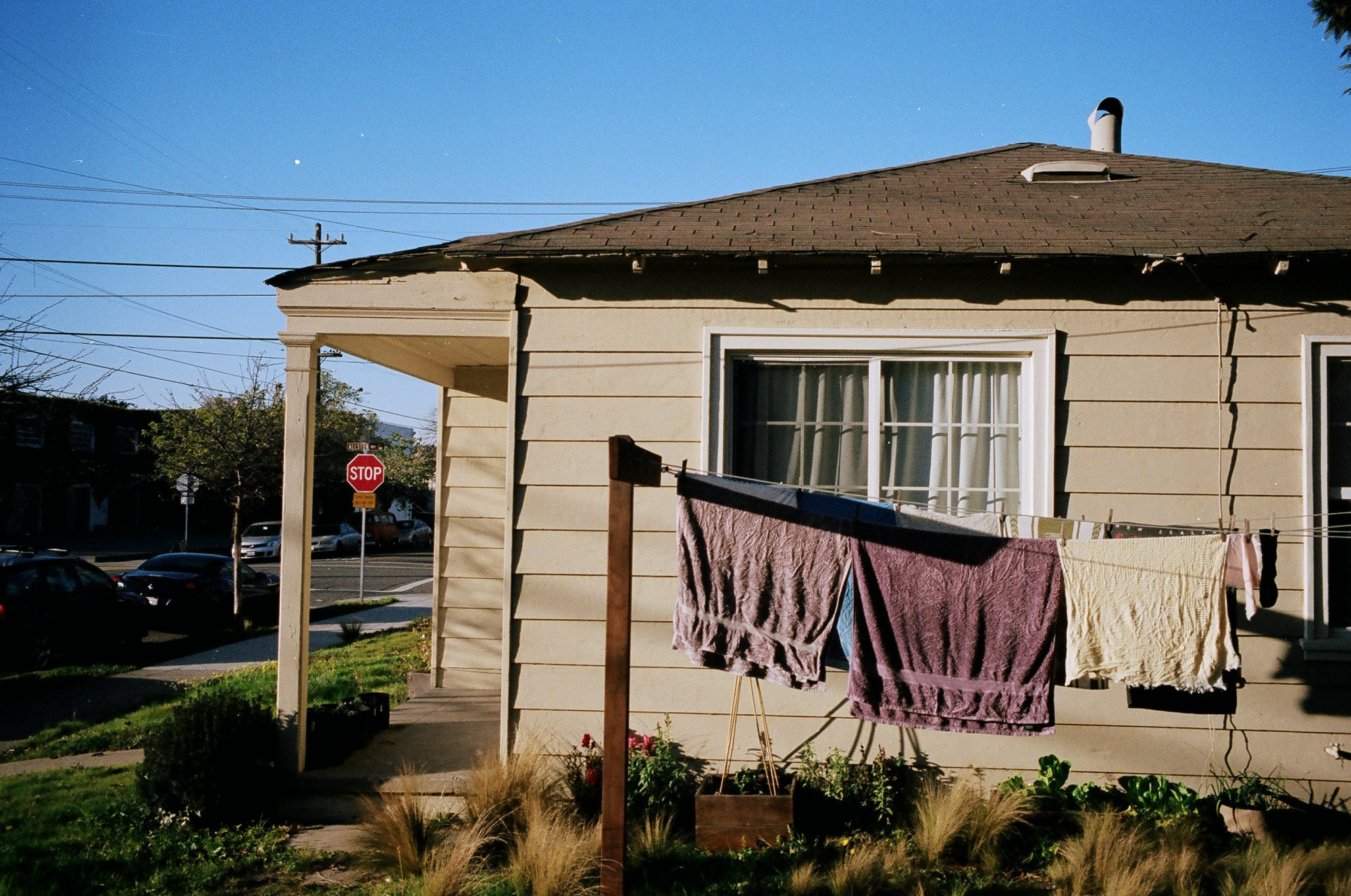 Golden hour in berkeley, with purple towels outside of house.