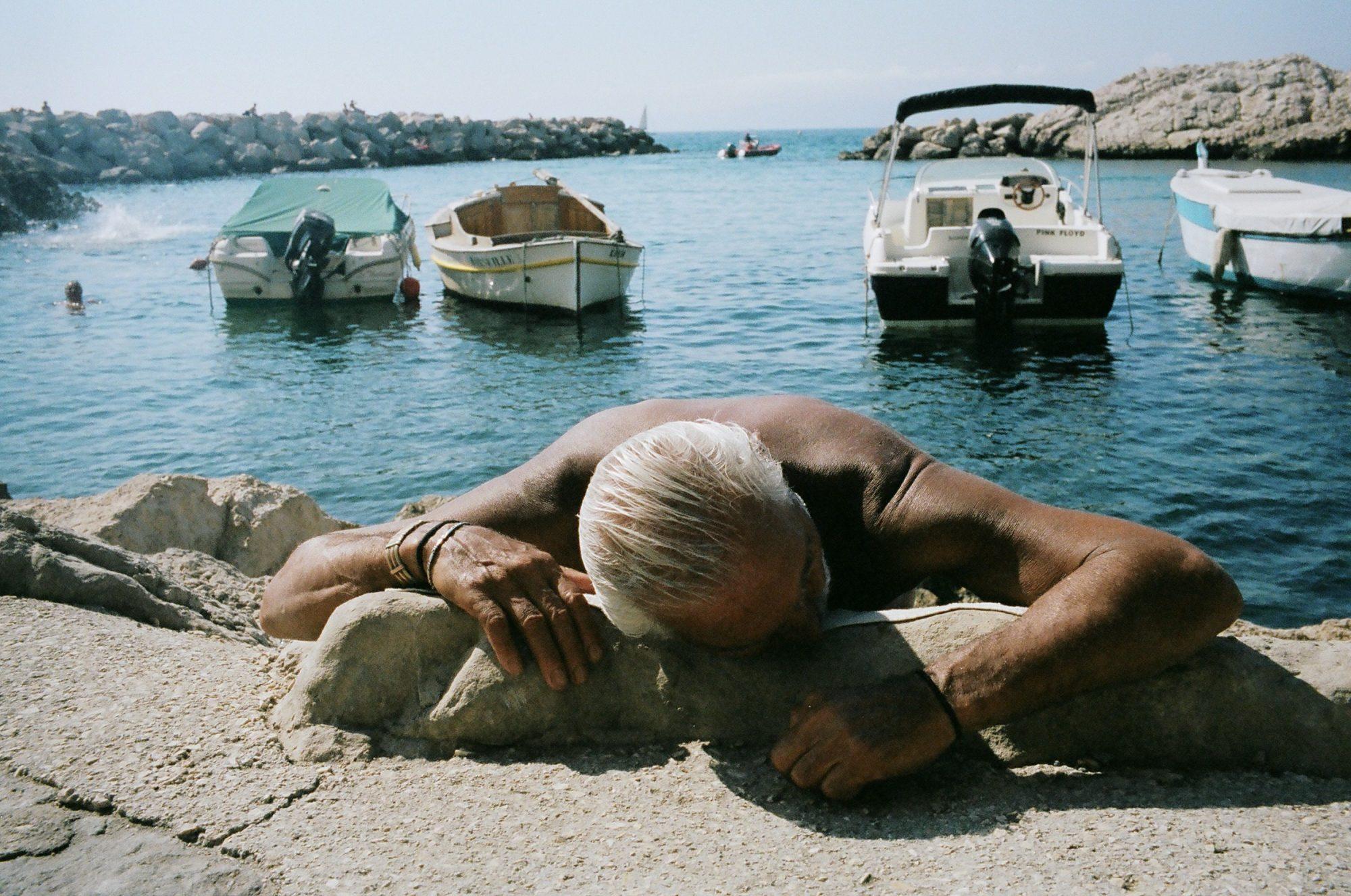 Marseille man at beach. Shot on Leica M6, Kodak Portra 400, around 1.8 meters on 35mm lens.