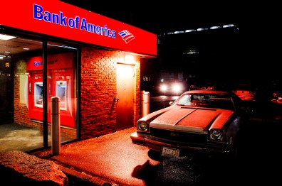Bank of America and old-school car. Boston, 2018