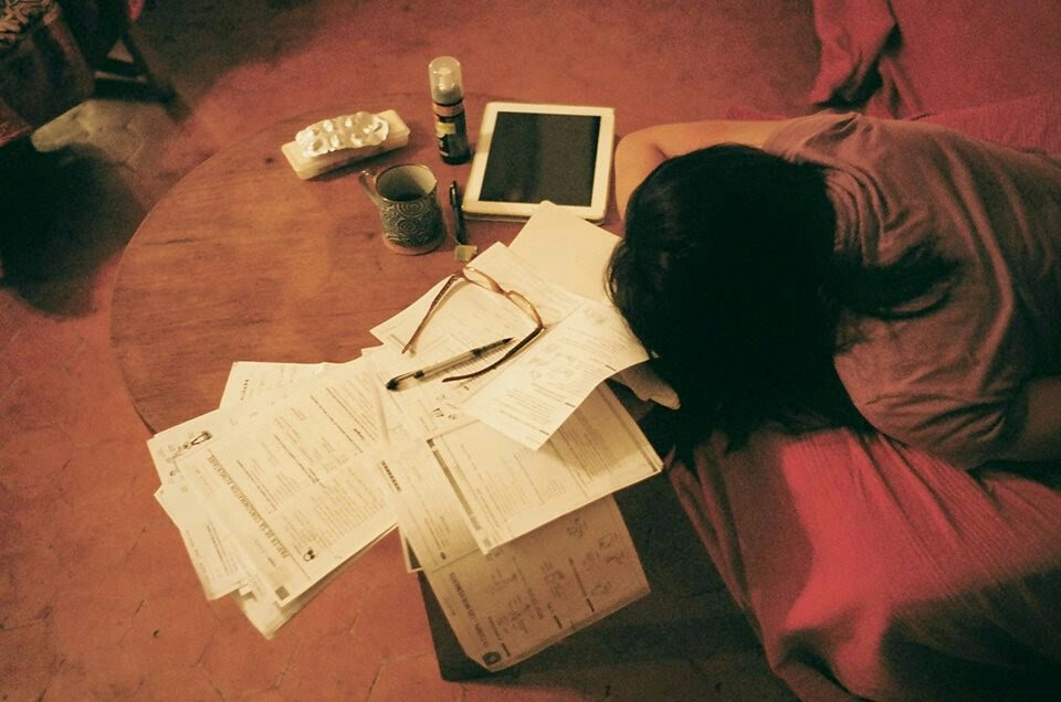 Cindy passed out after studying. Marseille, 2014