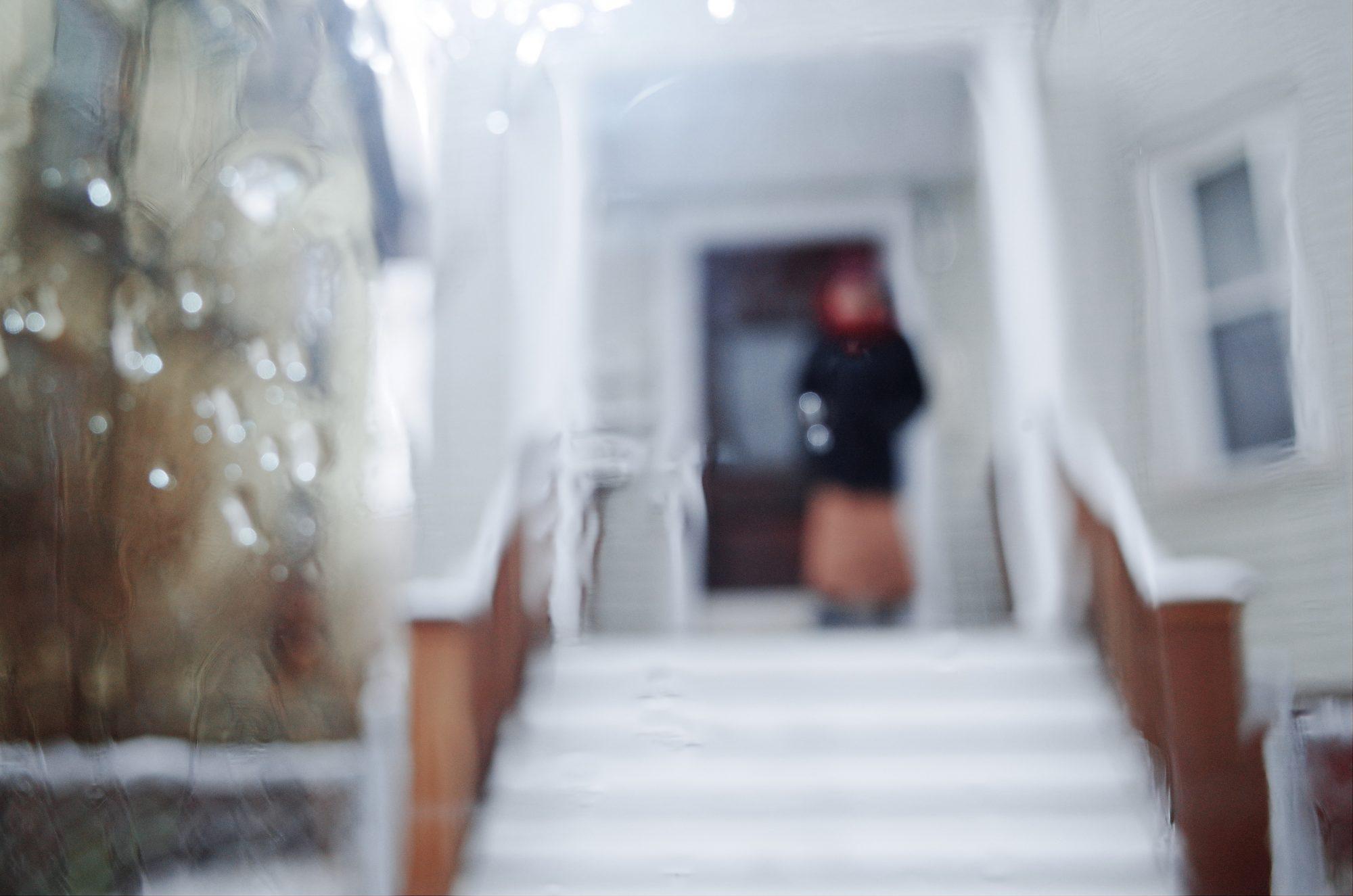 Blurry Cindy shot through foggy car window. Boston, 2018